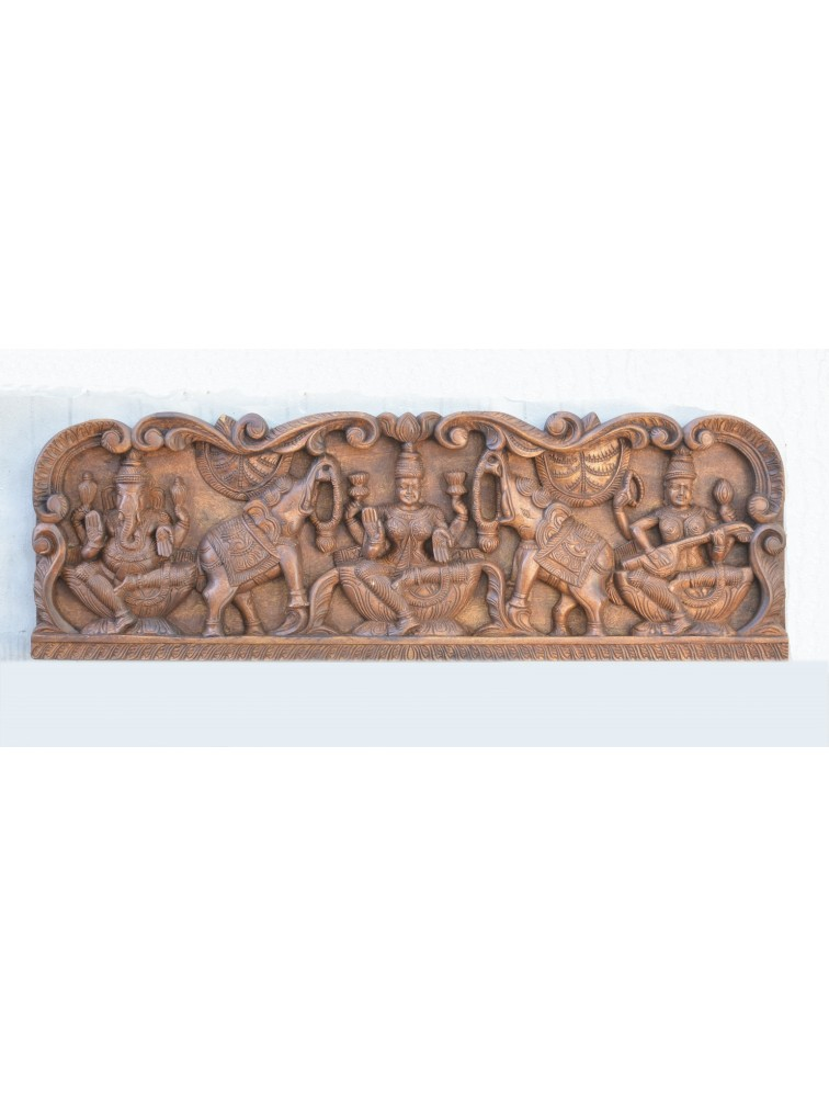 Wooden Floral Frame Work of GajaLakshmi With Ganesh And Saraswathi