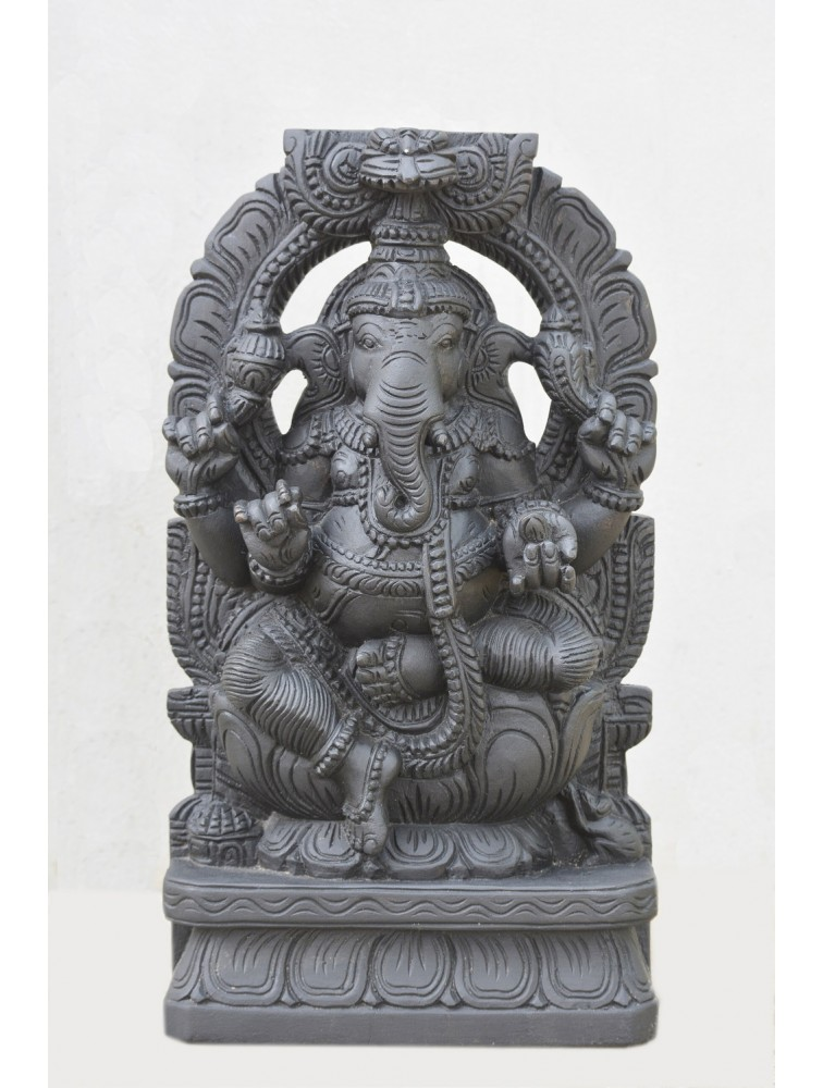 Wooden Ganesh Statue with Arch