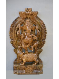 Ganesha Dancing on Mooshak Wooden Sculpture