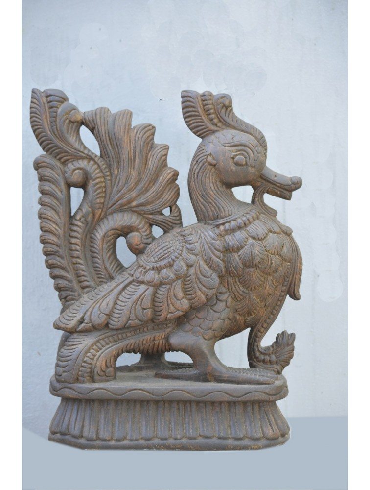 Wooden Hamsa (Annam) Bird Sculpture