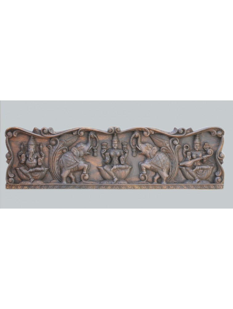 Buy Wooden Floral Wall Mount Panel of Gajalakshmi WIth Ganesh and Saraswathi