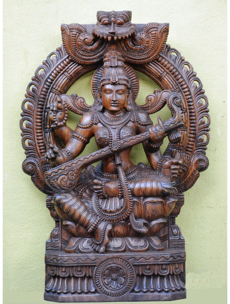 Wooden Sculpture of Saraswathi  With Arch