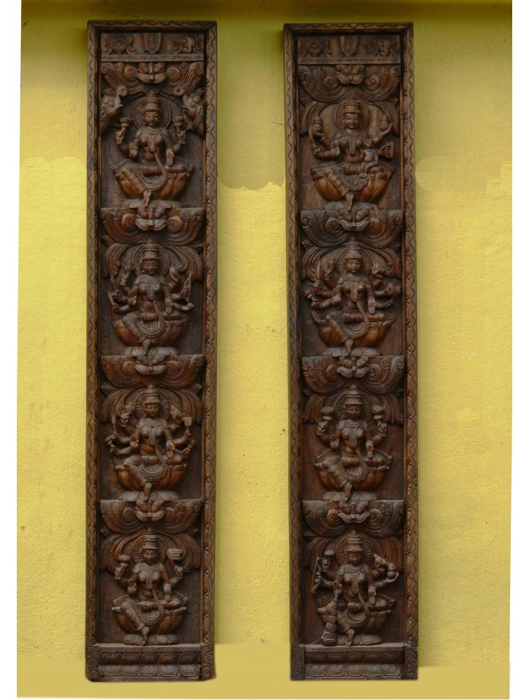 Wooden AstaLakshmi Vertical Wall Hanging Panel