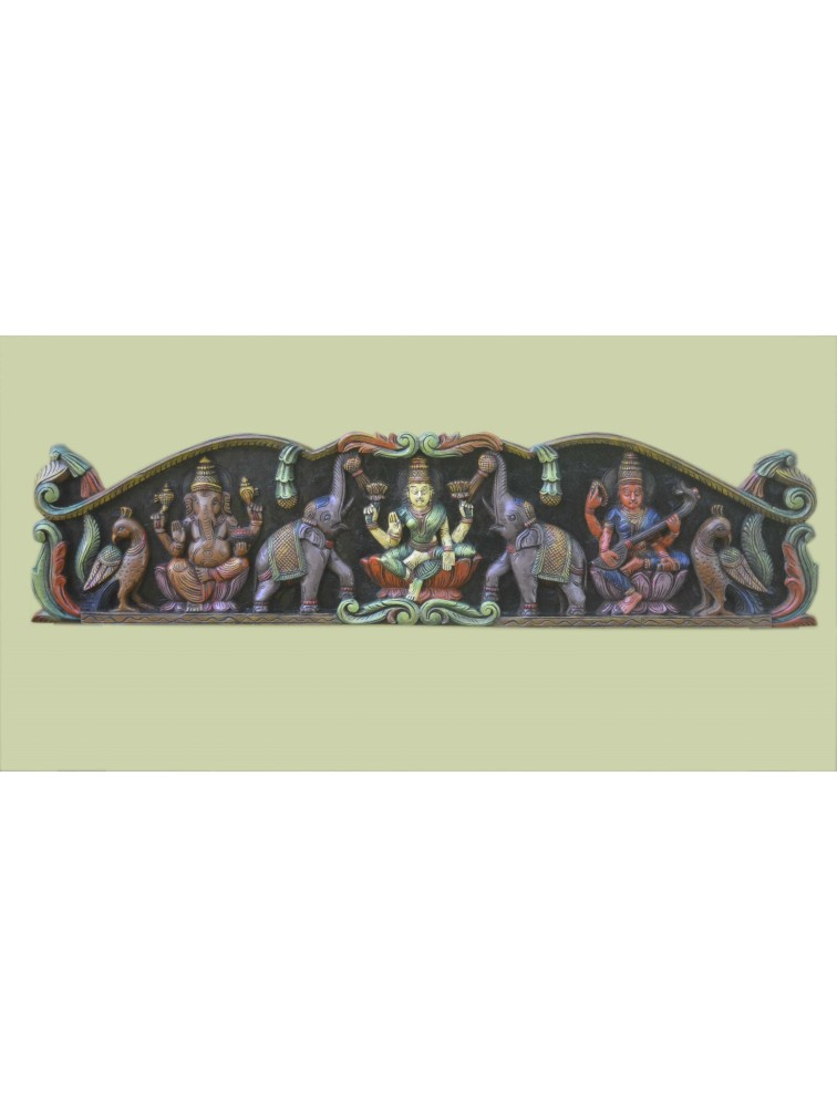 Multicolored  Wooden Floral Frame of GajaLakshmi With Ganesh And Saraswathi