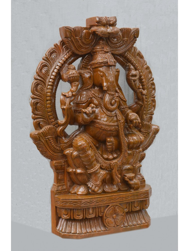 Lord Ganesha Seated on Lotus Throne With Arch Wooden Sculpture