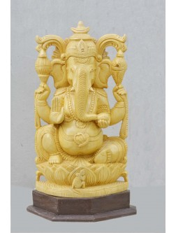 Lord Ganesha In White Cedar Wooden Statue