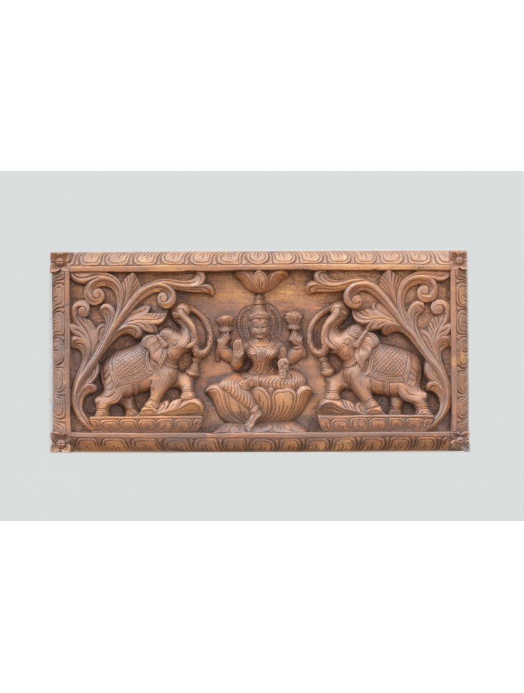GajaLakshmi With Elephant Wooden Wall Mount Panel