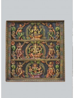 Square  Wall Mount of Ganesh ,Lakshmi ,and Saraswathi