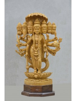Lord Vishnu In Different Gods Avatar Wooden Sculpture