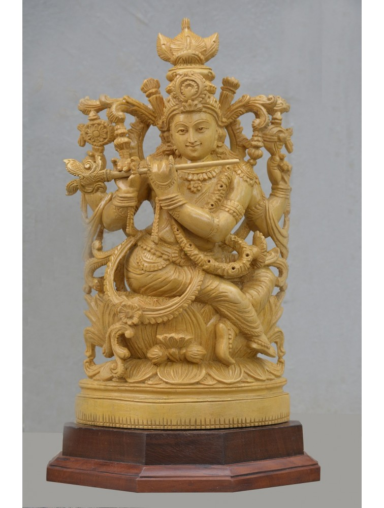 Lord Krishna Plays Basuri Seated On Lotus