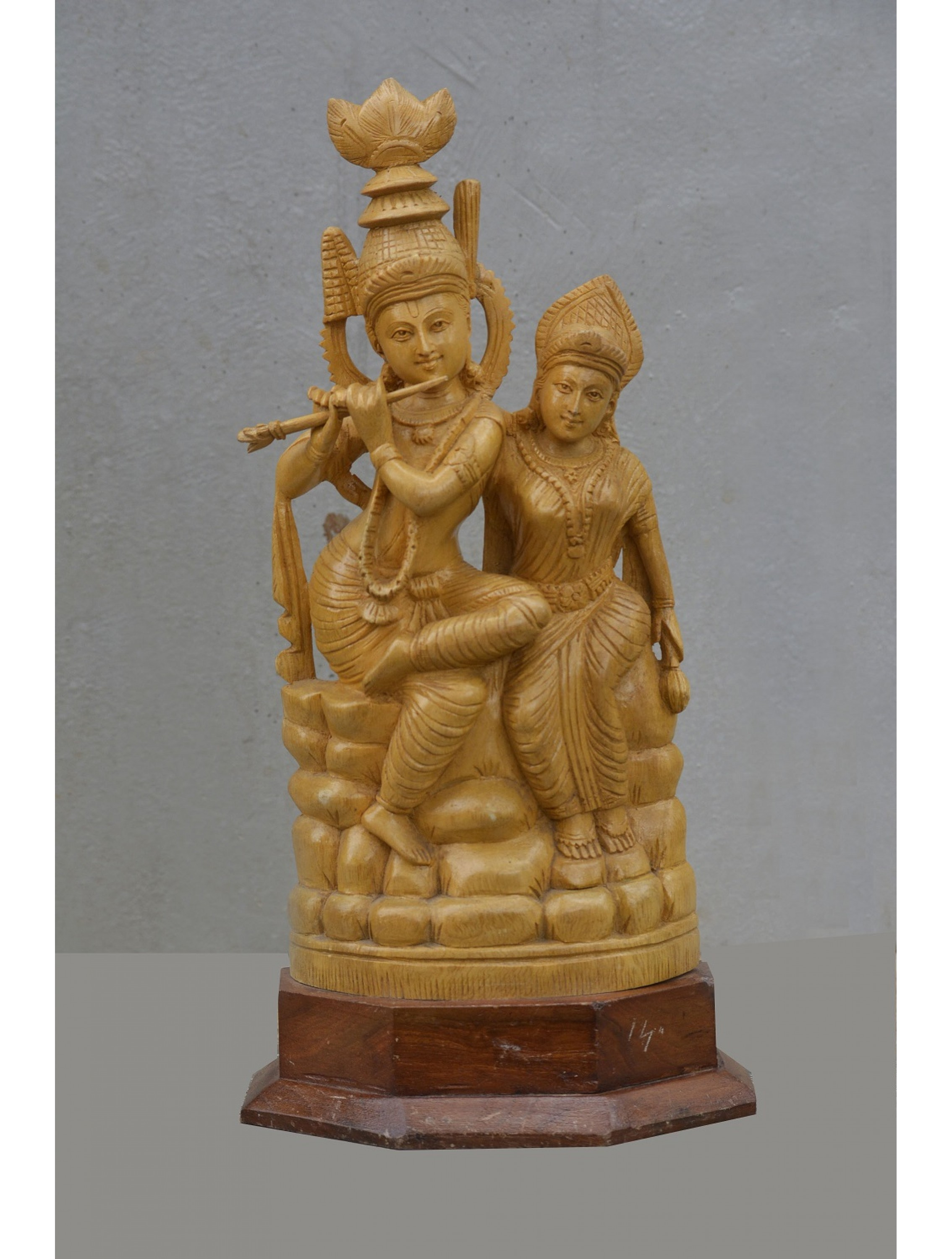 Lord Krisha Plays Flute For Radhai Wooden Statue