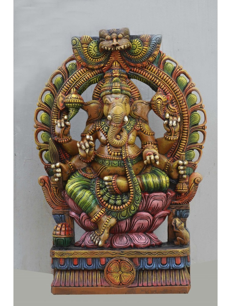 Multicolored Ganesha Statue With Floral Arch Design