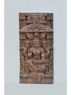MahaLakshmi Wooden Wall FIxing  Sculpture
