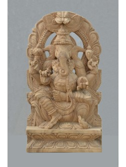 Natural Wood Color Lord Ganesh