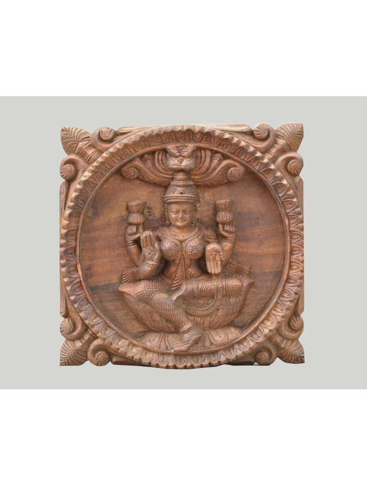 Small Size Square Wall Mount Of Goddess Lakshmi