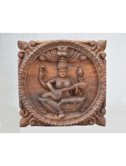 Small Size Wooden Wall Mount of Goddess Saraswathi