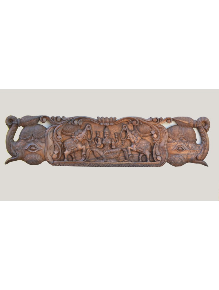 Wooden Wall Mount Panel of  GajaLakshmi  With Elephant Headed