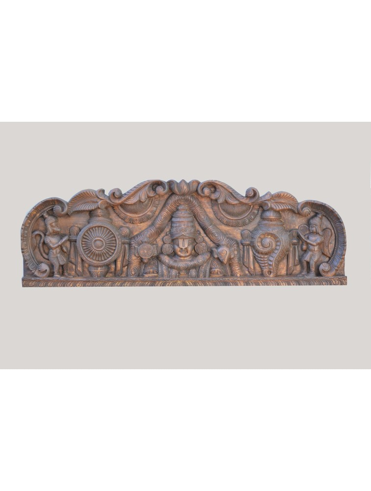 Thirumala Balaji  With Shank And Chakra Wooden Wall Mount Panel