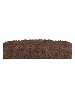 Gopuram Framed Gajalakshmi Wooden Wall Mount Panel