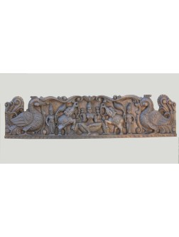 Handcarved GajaLakshmi Wood Sculptured Panel