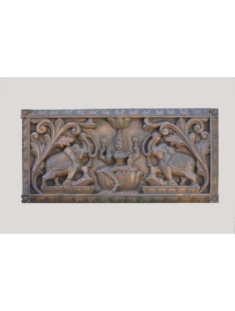 GajaLakshmi  With Floral Design Wooden Wall Mount Panel