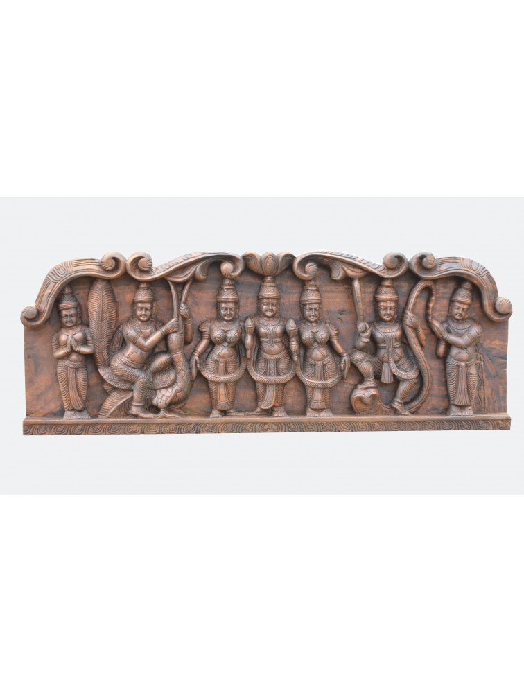 BakaSura,Thirumal and Kaliya-Mardana Wooden Wall Panel