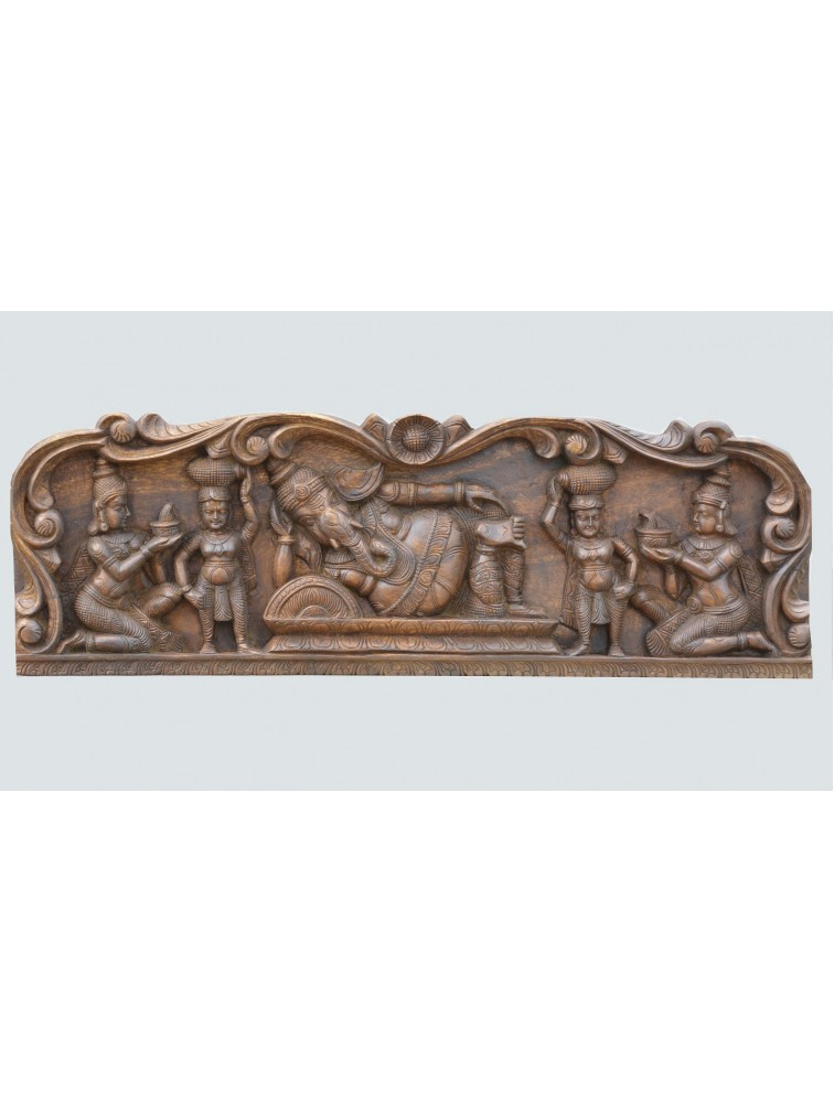 Wooden Wall  Panel of Relaxing  Ganesh