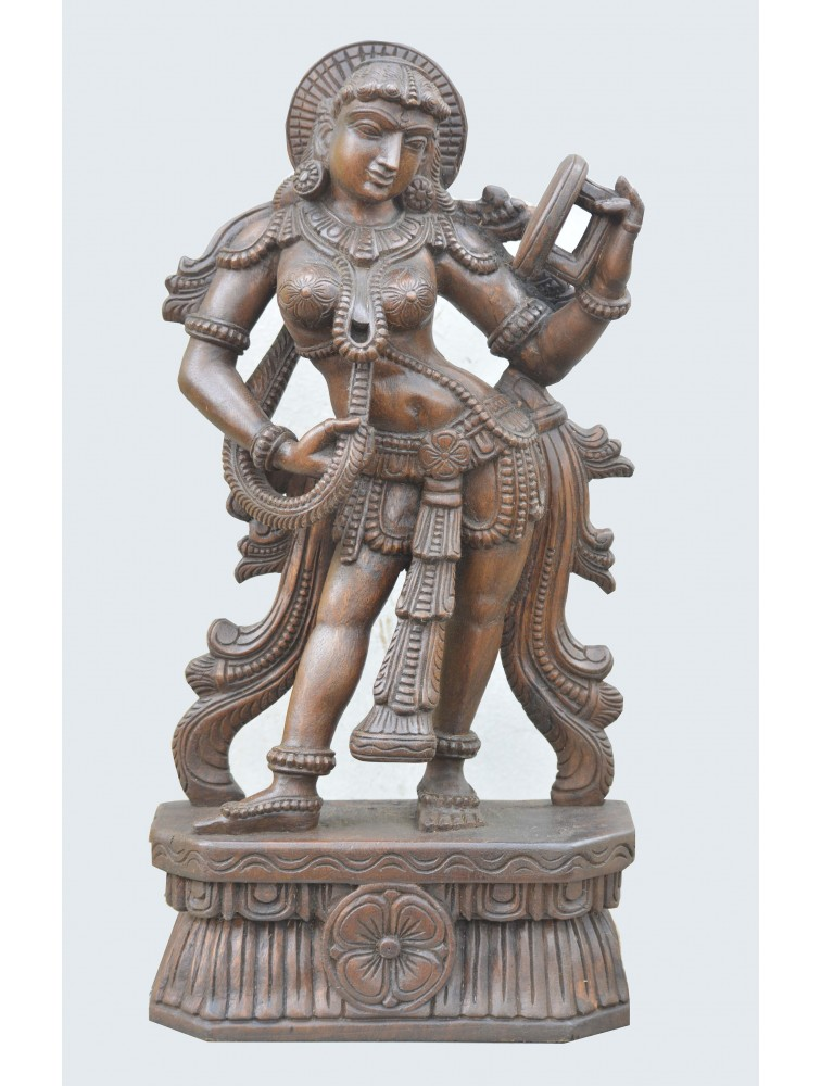 Wooden Sculpture Of Apsara Holding Mirror