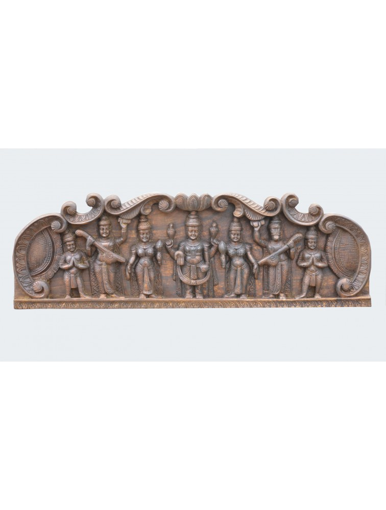 Thirumla Balaji With Aandal and Alamelu Wooden  Wall Panel