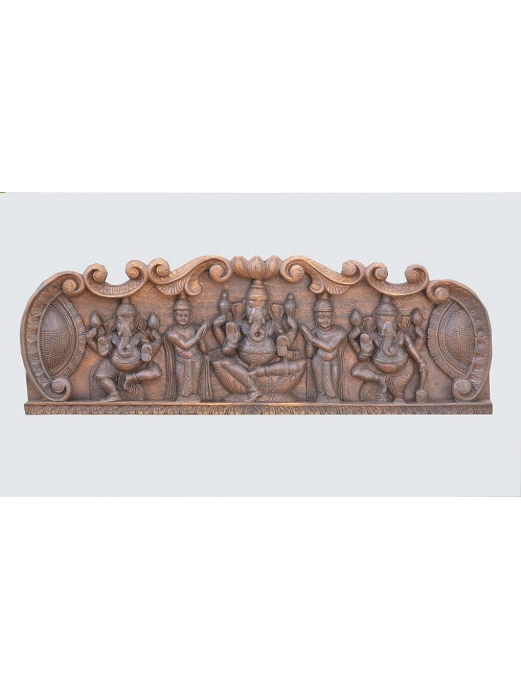 Wooden Wall Mount of Three Ganesha's With Diffferent Poses