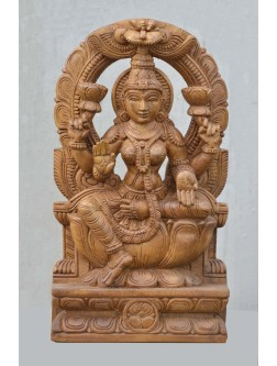 Wooden sculpture of GajaLakshimi With Arch