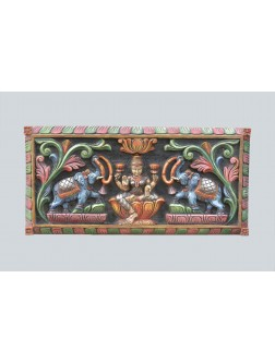 Multicolored Wall Mount Panel of Goddess Lakshmi