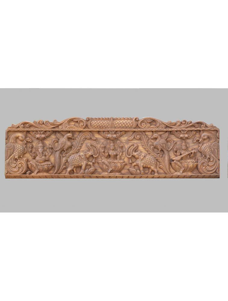 Wooden Detailed Frame of Goddess Lakshmi With Ganesh and  Saraswathi