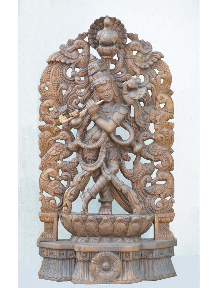 Wooden Sculpture of Flute Krishna With Hamsa Bird Design