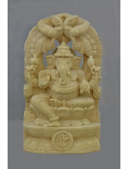 Small Size Ganesh statue  With Natural Wood color Finished
