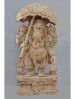 Nature Wood Colored  Bridgegroom Ganesh Statue