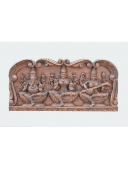Hindu God Ganesh And Goddess Lakshmi,Saraswathi Wooden Panel