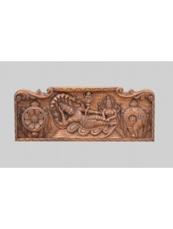 Lord Ranganathar Wooden  Wall Mount With Lakshmi