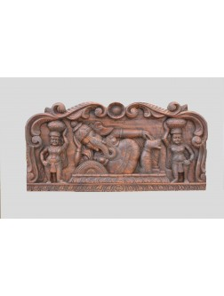 Wooden Wall Panel of Reclining Ganesh With Sevagars
