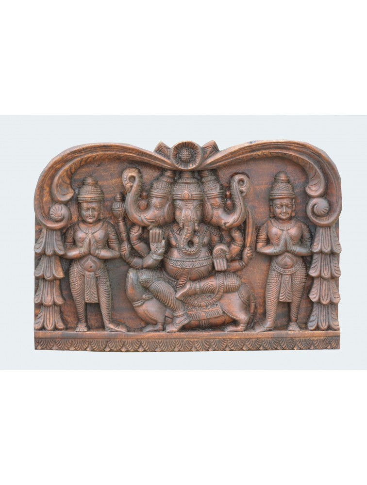 Three Headed Wooden Ganesh Seated on Mooshik with Sevgars