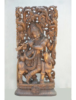 Wooden Jolly Work of Krishna With Cow