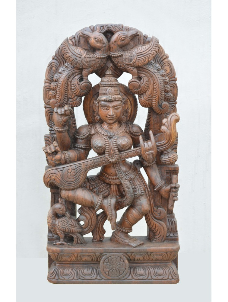 Wooden Statue of Saraswathi With Veena