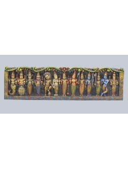 Lord Vishnu  and his Ten incarnations Wooden Wall Mount