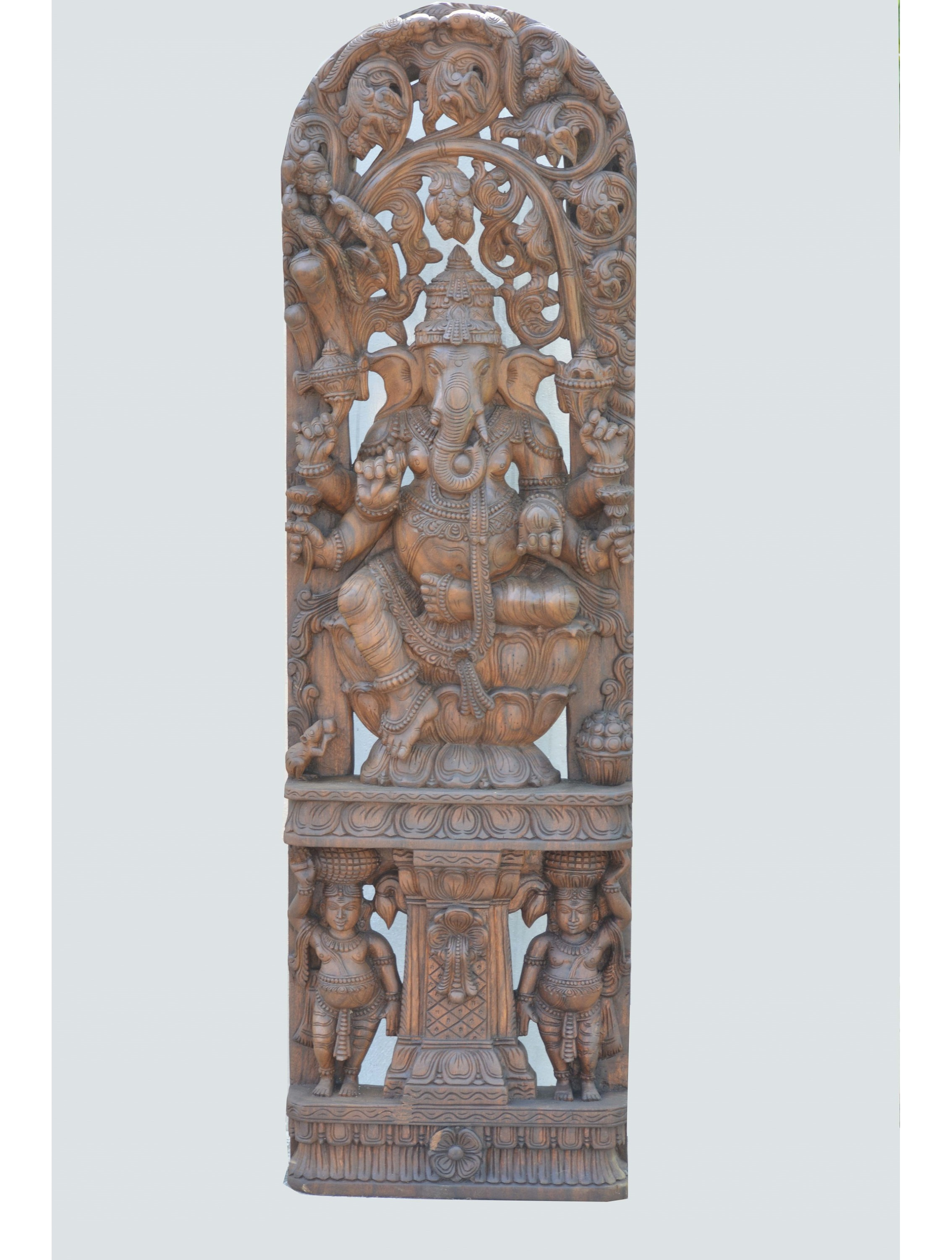 Lord Ganesha on Double Petal Lotus With Jolly Work Wooden Statue