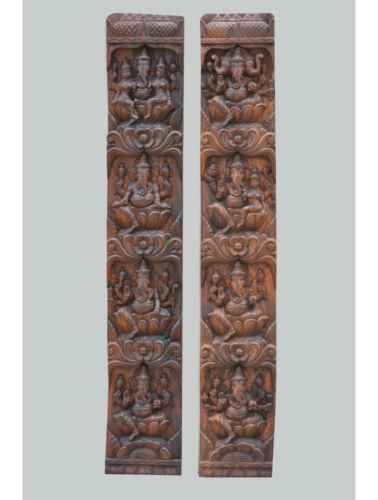 Eight Different Ganesha's Vertical Wall Mount