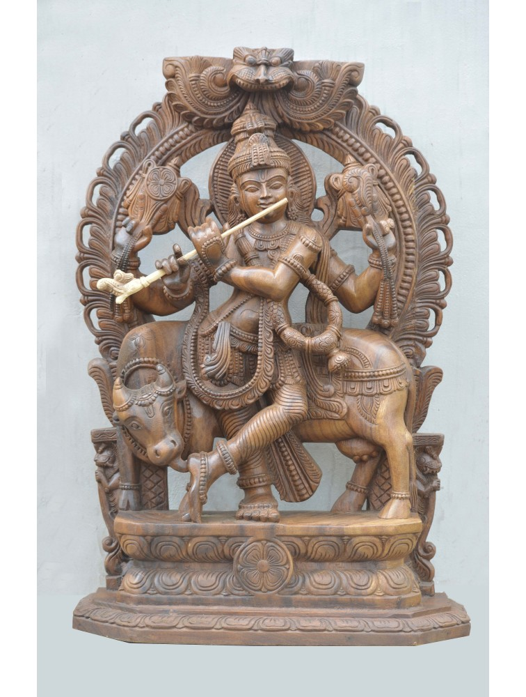 Wooden Statue of Venugopal Playing Flute With Cow
