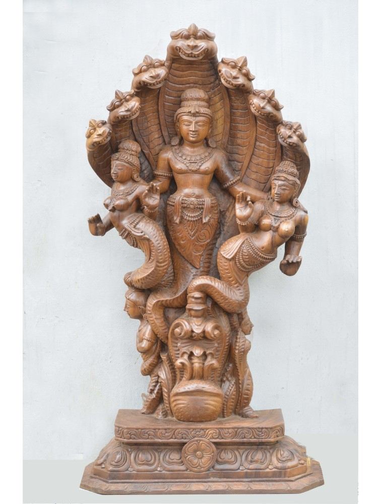 Lord Vishnu as Naga Wooden Sculpture