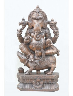 Ganesha On Mooshik Wooden Idol