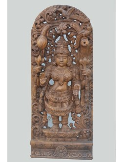 Goddess Lakshmi Standing Wooden Jolly Work Sculpture