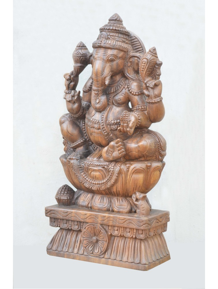 Wooden Statue of Utkutahasana Ganesh on Lotus